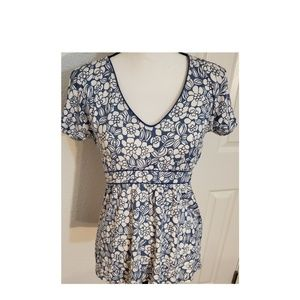 Boden Blue & White Floral Stretch Top Size 8